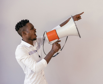 Man talking into megaphone